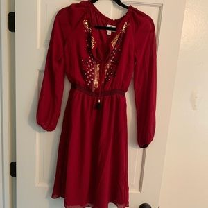 Red boho dress with beading